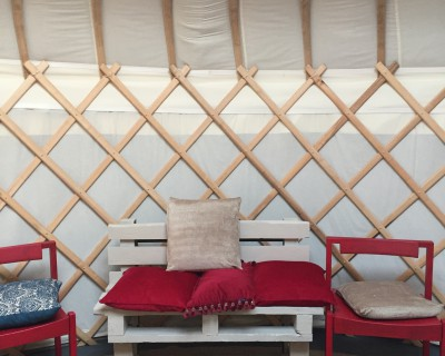 Our pallets have made comfy sofas at Yurt Cafe
